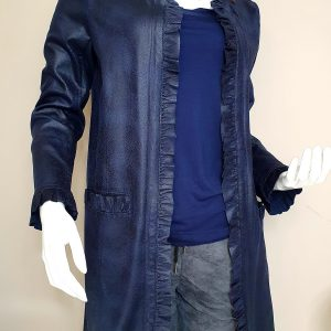 French and fabulous designer leather look coat